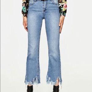 Zara NWT Cropped Fringe Flare Jeans